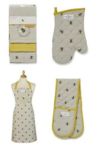 Cooksmart Bumble Bee Kitchen Collection Apron Oven Glove Gauntlet Mitt Tea Towel