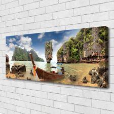 Leinwand-Bilder Wandbild Canvas Kunstdruck 125x50 Boot Gebirge Steine Landschaft