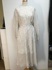 Somerset by Alice Temperley ecru georgette golden clipped jacquard midi dress 10