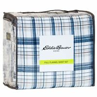 Eddie Bauer Plaid Cotton Flannel Sheet Set - Twin - Blue/Brown  Plaid