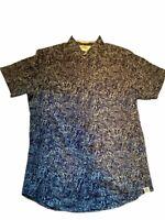 Free Planet Hawaiian Shirt Palm Tree Leaves Mens Size Large Blue