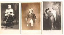 LOT OF 3 - 1915 RPPC REAL PHOTO POSTCARDS  BABY IN WAGON A BOY AND HIS HORSE