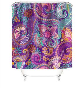 Geometric Shower Curtain Set Bathroom Rug Bath Mat Non-Slip Toilet Lid Cover