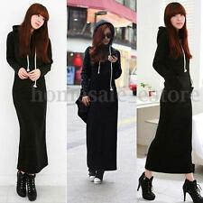 Fashion Ladies Long Sleeve Hoodies Outwear Cotton Velvet Bandage Long Maxi Dress