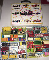 Matchbox Sammlung Konvolut mit 45 Modellen im Auto Koffer , alle Bespielt Retro