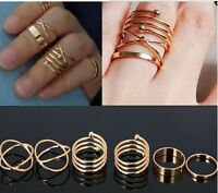 6PCS  Urban Gold stack Plain Rings Cute Above Knuckle Ring Band Midi Ring Set