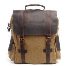 Vintage Canvas Leather Backpack for Men Small Satchel Daypack for Travel Weekend