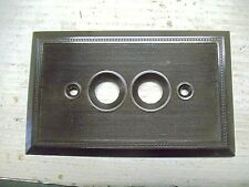 1 Old Vintage Fancy Brown Push Button Single Plate Cover NOS Bakelite