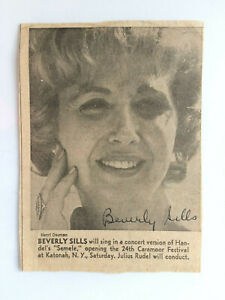 Beverly Sills - 'The Queen of Opera' - Original Hand Signed Autograph