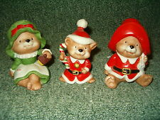 Vintage Set of 3 Homco Christmas Bears Set #5600 Excellent Condition!