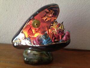 superbe  Lampe moule noire coquillage  Poisson VALLAURIS vintage An 70 's