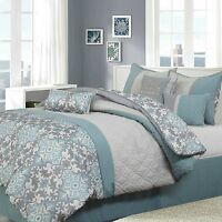 Beautiful Blue Grey Geometric Motif 7 pcs Comforter Cal King Queen Bedding Set