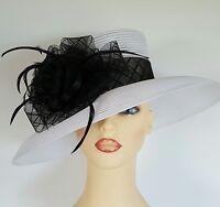 Ladies Wedding Races Mother Bride Ascot Hat White Black by M & S