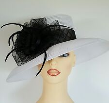 Ladies Wedding Races Mother Bride Ascot Hat White Black by M & S