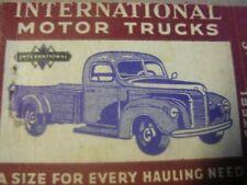 "1940's International Truck ""All Steel"" De Luxe Cab Comfort-Power Test Matchcover"