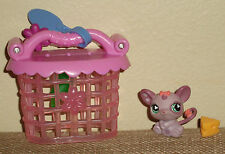 Littlest Pet Shop Purple Mouse #464 Green Eyes Cage Water Bottle Cheese