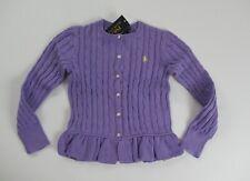 NWT Ralph Lauren Girls Purple Peplum Hem Cable Cardigan Sweater 7 8/10 12/14 16