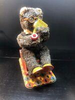 Vintage Alps Co. Tin Battery Operated Grandpa Bear Smoking & Rocking 1950s Japan