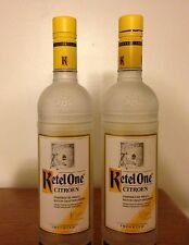 Lot of Two (2) EMPTY Ketel One Citroen Vodka 750 ml/ Frosted Glass Bottles