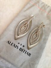 "Alexis Bittar Gold JARDIN MYSTERE PAVE MARQUIS ORBITING Earrings - 3"" WARM GREY"