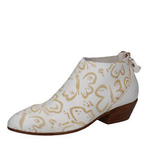 scarpe donna MOMA 36 EU stivaletti bianco beige pelle AB423