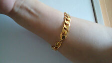 """Sale 9"""" 12mm Yellow Gold Filled Men's Bracelet Curb Chain Father Christmas Gift"""