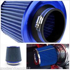 "3""75mm Blue Mushroom Head Car SUV High Flow Intake Air Filter Cleaner Dual Mesh"