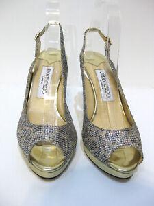 JIMMY CHOO Nova Silver/Blue Glitter Gold Heel Platform Slingback Size 38