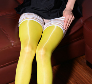 Women Sexy 8D Sheer High Stockings Oil Shiny High Glossy Bodyhose Long Socks