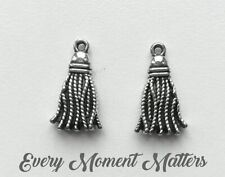 Suede Tassel Charms with Bronze Cap for Jewellery Making Black 36mm H22//3