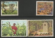 ZAMBIA 1979 SURCHARGES Sc#188/91 COMPLETE USED SET 0221