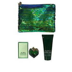 Thierry Mugler Aura Eau de Parfum 5ml Miniature Bag & Body Lotion Set