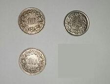 3 Stück Münzen aus der Schweiz, 1 Stück 1/2 Franken und 2 Stück 10 Rappen