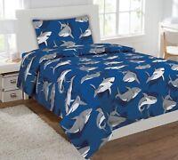 Fancy Linen 4pc Full Size Kids/Teens Shark Light Blue Grey Sheet Set New