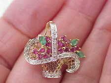 Emeralds Basket Flowers Pendant-Brooch 14K Solid Gold Diamond-Rubies &