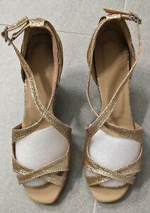 Jjs House Women's Sparkling Glitter Heels Latin Dance Shoes, Gold 39