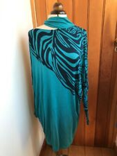 ringspun entree peacock turquoise tiger print neck choket batwing tunic dress 3