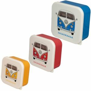 Official Volkswagen VW T1 Camper Bus Set Of 3 Luch Boxes Blue Red Yellow