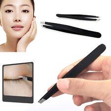 2Pcs Professional Eyebrow Tweezers Hair Beauty Slanted Stainless Steel Tweezers