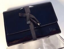 Christian Dior Beauté Cosmetic Bag Makeup Black Patent Pouch w/ CD Charms New