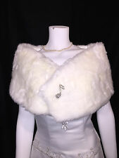 WHITE Faux Fur Stole Shawl Shrug Wrap Bridal Wedding
