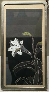 Original '70 TORU MABUCHI Still Life LILLIES White Flower Signed COLOR WOODBLOCK