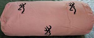 Browning Pink & Brown Decorative Throw Roll Pillow, Buckmark Logo
