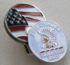 2018 US OPEN at SHINNECOCK HILLS, WHITE, BALL MARKER with a USA FLAG HAT CLIP