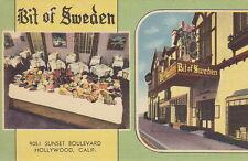 Bit Of Sweden Restaurant, Hollywood, CA, Linen Postcard