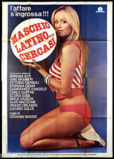 MASCHIO LATINO... CERCASI MANIFESTO CINEMA FILM GLORIA GUIDA SEXY 1977 POSTER 4F
