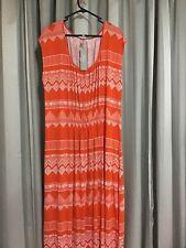 Yarra Trail Woman Orange Tribal Print Maxi Dress Plus Sz M