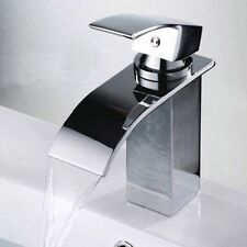 Chrome Mounted Basin Faucet Bathroom Tub Waterfall Spout Sink Mixer Tap Deck SK