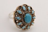 Turkish Jewelry Oval Shape Turquoise Topaz 925 Sterling Silver Ring Size 9