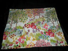 Pottery Barn STD Pillow Sham Abstract Floral Words Pink White Blue Green Red